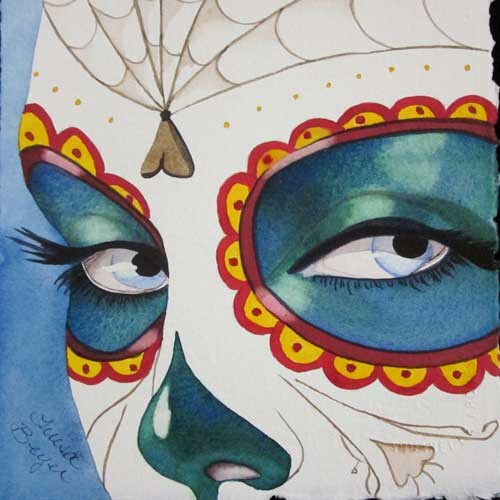"""Calavera Mask"" original fine art by Teresa Beyer"