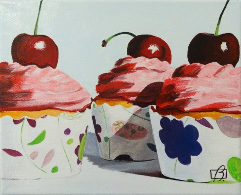 """Vanilla & Cherry Cupcakes"" original fine art by Andre Beaulieu"