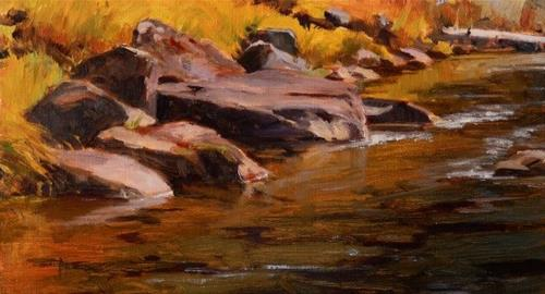"""River Bank oil, landscape painting by Robin Weiss"" original fine art by Robin Weiss"