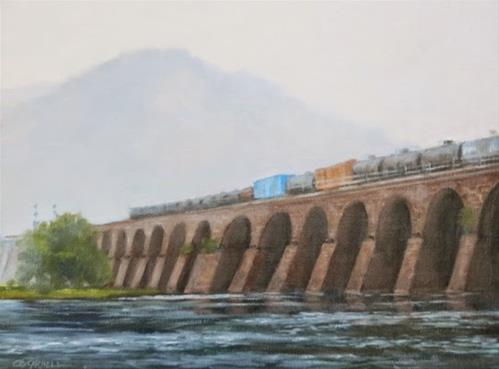 """SOLD 'Misty Morning Train' Rockville Bridge, Susquehanna River Harrisburg, PA An Original Oil Painti"" original fine art by Claire Beadon Carnell"