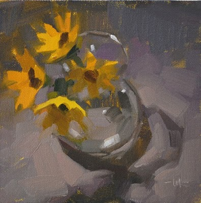 """Gold on Purple"" original fine art by Carol Marine"