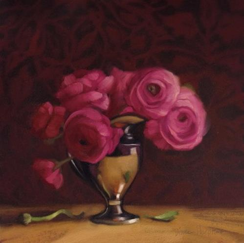 """Silver Pinks  floral still life painting"" original fine art by Diane Hoeptner"