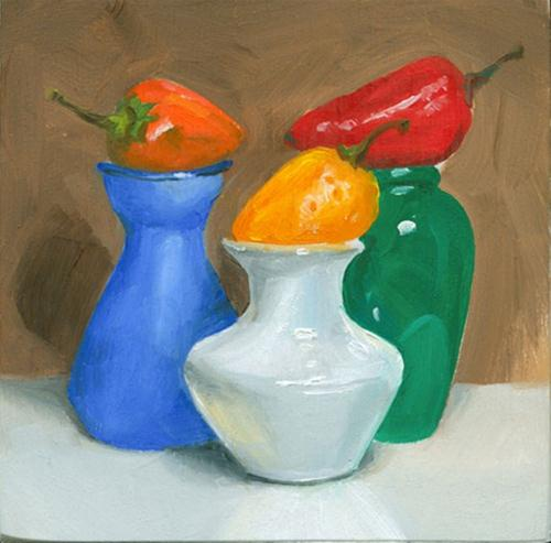 """Three little peppers"" original fine art by Jean Wilkey"