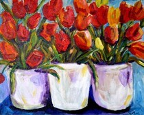 """Farmers market Tulips"" original fine art by Maggie Flatley"
