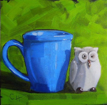 """Whoo Likes Coffee"" original fine art by Claire Henning"