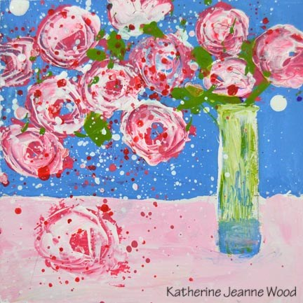 """Pink cottage chic roses painting No 126"" original fine art by Katie Jeanne Wood"