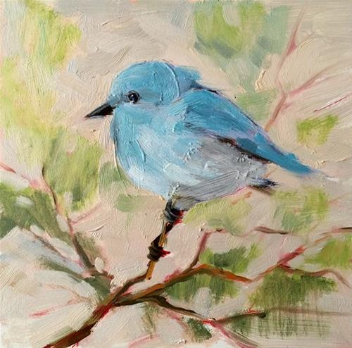 """Tiny Blue"" original fine art by Deborah Newman"