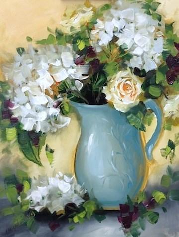 """Wintry Mix White Hydrangeas - Painting Beachside Flowers by Nancy Medina"" original fine art by Nancy Medina"