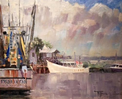 """Pulling the Trap St Augustine, plein air, oil painting by Robin Weiss"" original fine art by Robin Weiss"