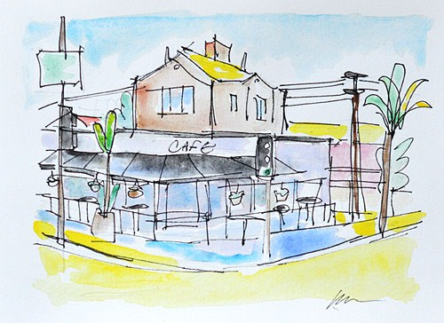 """Kensington Cafe, San Diego"" original fine art by Kevin Inman"