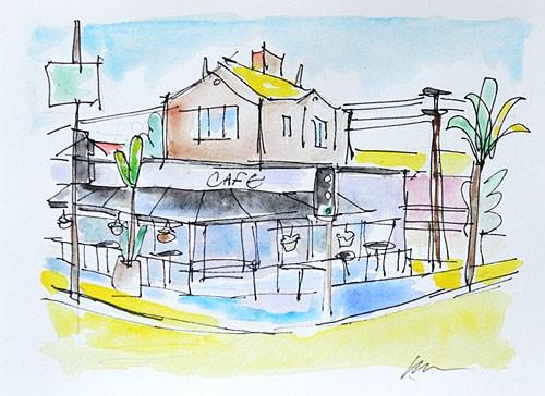 """Kensington Cafe, San Diego"" original fine art by Kevin Inman"