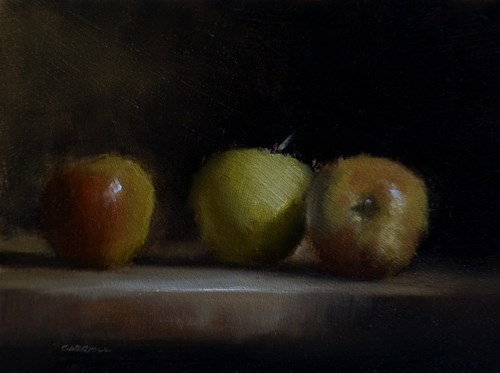"""Three Apples"" original fine art by Neil Carroll"