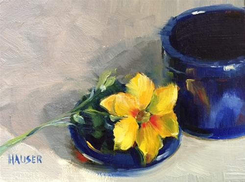 """Daylily in Blue"" original fine art by Alice Hauser"
