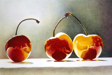 """Three Cherries"" original fine art by Barbara Benedetti Newton"