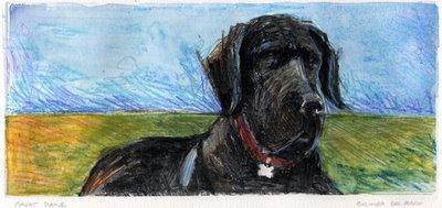 """Monotype: Great Dane"" original fine art by Belinda Del Pesco"