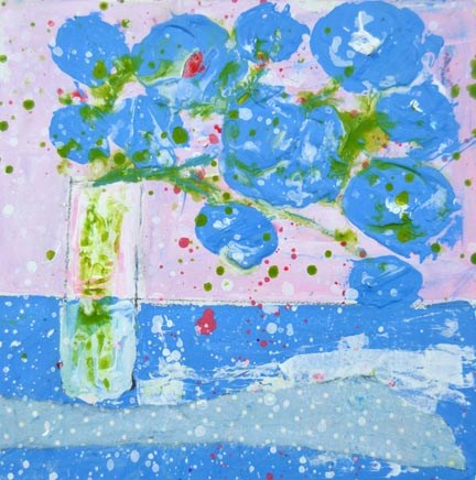 """Blue flower painting No 136"" original fine art by Katie Jeanne Wood"
