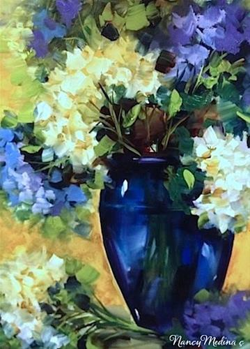 """Simple Moments White and Blue Hydrangeas by Floral Artist Nancy Medina"" original fine art by Nancy Medina"