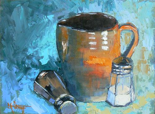 """Pottery with Salt and Pepper"" original fine art by Carol Schiff"