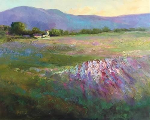 """Lavender Fields"" original fine art by Jean Fitzgerald"