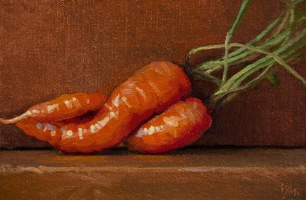 """""""Still Life with Two Carrots (The Kiss)"""" original fine art by Abbey Ryan"""