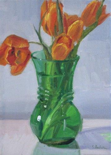 """""""Orange Tulips spring floral oil painting flower still life and a BLOG GIVEAWAY!"""" original fine art by Sarah Sedwick"""