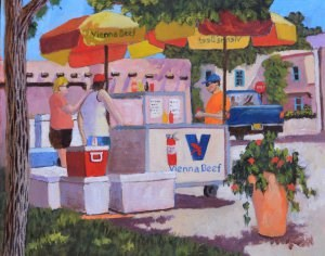 """Hot Dogs!"" original fine art by Robert Frankis"