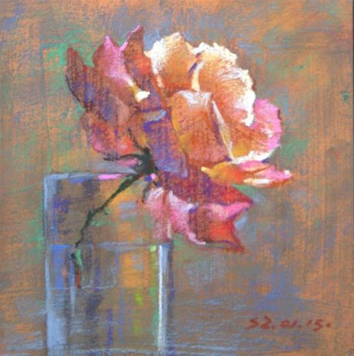 """""""Rose in a Glass"""" original fine art by Sabrina Zhou"""