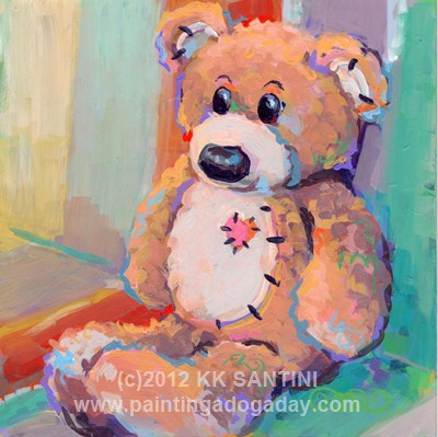 """Teddy and Comfort Zones"" original fine art by Kimberly Santini"