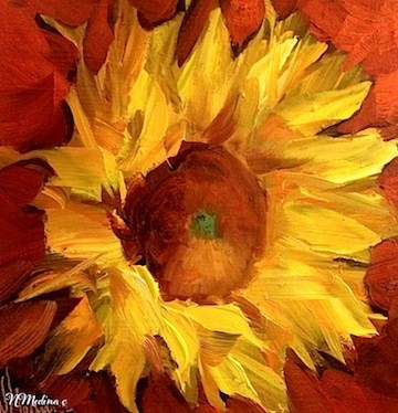 """Bring on the Heat Sunflower and a Florida Workshop ~ Floral Paintings by Nancy Medina"" original fine art by Nancy Medina"