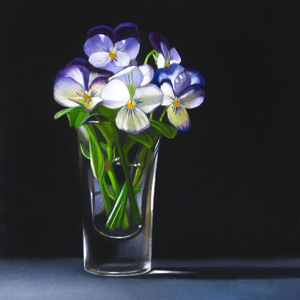 """Violets 4x4"" original fine art by M Collier"