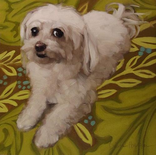 """Dindi pet portrait of white dog with pattern"" original fine art by Diane Hoeptner"