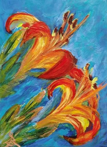 """3220 - Framed Matted -  LILY SISTERS ACEO"" original fine art by Sea Dean"