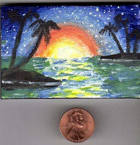 """Tropical Sunset Miniature with Easel"" original fine art by Patricia Ann Rizzo"