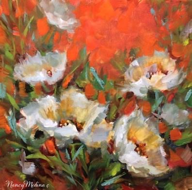 """Moon Garden White Tulips and a San Diego Workshop by Floral Artist Nancy Medina"" original fine art by Nancy Medina"