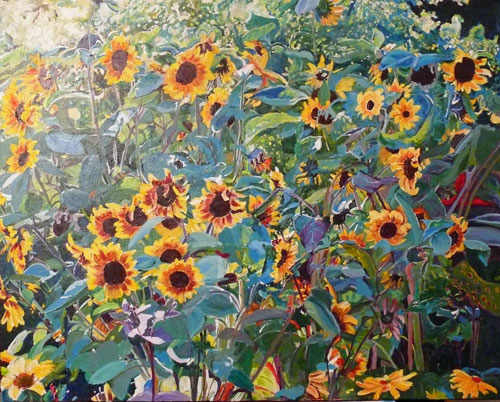 """Sunflower Parade"" original fine art by Darlene Young"