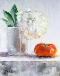 """still life with persimmon and white flower"" original fine art by Carrie Venezia"