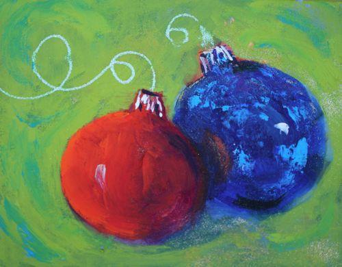 Christmas Celebration Acrylic Painting of Ornaments by AZ Artist Amy Whitehouse original fine art by Amy Whitehouse