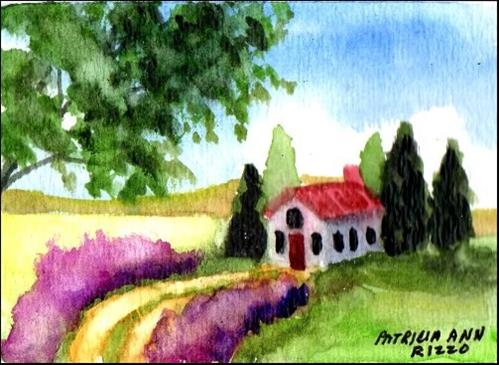 """House in the Country"" original fine art by Patricia Ann Rizzo"