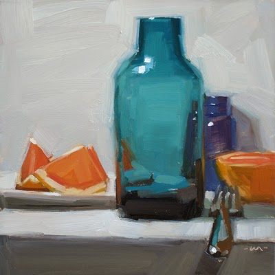 """Still Life with Bottle & Brush Stroke Challenge"" original fine art by Carol Marine"