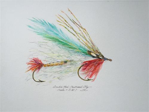 """Double Hook Steelhead Fly"" original fine art by Jean Krueger"