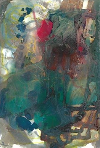"""Original Contemporary Abstract Mixed Media, Alcohol Ink Painting FLOWERS BY THE WINDOW by Contempo"" original fine art by Lou Jordan"