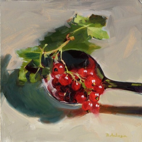 """Oil Painting of Red Currants"" original fine art by Deb Anderson"