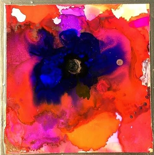 """Alcohol Ink Painting Red Poppy Armistace Day  by Contemporary New Orleans Artist Lou Jordan"" original fine art by Lou Jordan"