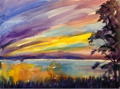 """#1/30 in 30 - Bayside Sunset Impression #1"" original fine art by Lyn Gill"