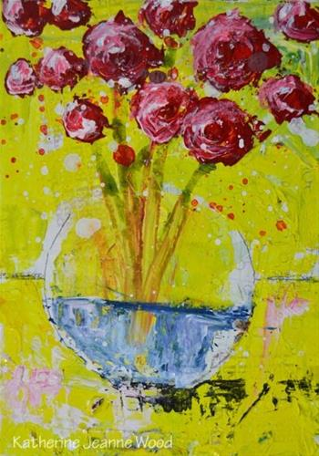 """""""Yellow and red roses painting No 141"""" original fine art by Katie Jeanne Wood"""