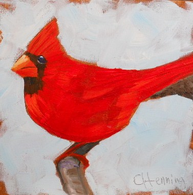 """Red Cardinal"" original fine art by Claire Henning"