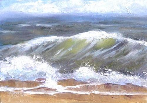 """Ocean View, 5x7 Oil on Canvas"" original fine art by Carmen Beecher"