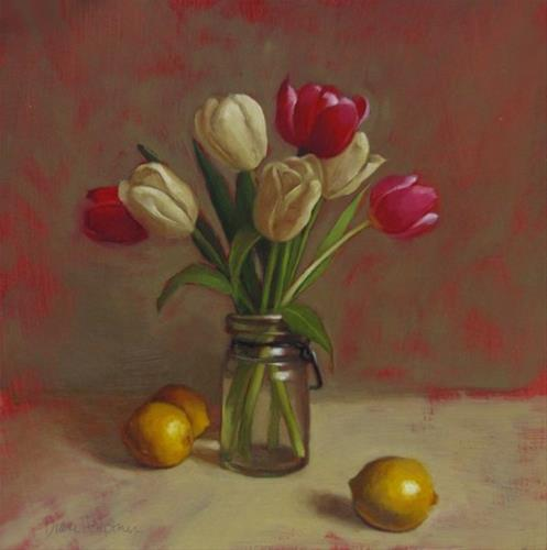 """Red and Whites, tulip still life painting with lemons"" original fine art by Diane Hoeptner"