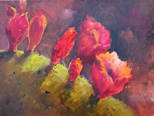 Blooms on Cactus, Oil painting of Southwest Cactus original fine art by Amy Whitehouse