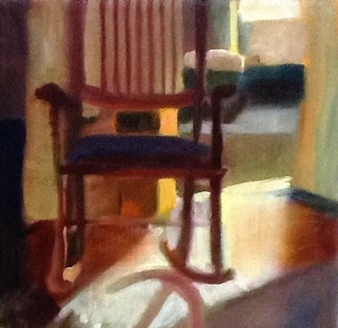 """The chair where Jesus waits"" original fine art by Judy Downs"